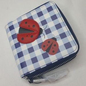 Ladybug Wallet Purse Bag Zipper Gingham Blue Red
